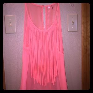 Tops - Coral fringe top-perfect condition